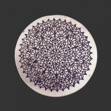 Engraved Crown Chakra Symbol Selenite Plate | Coaster