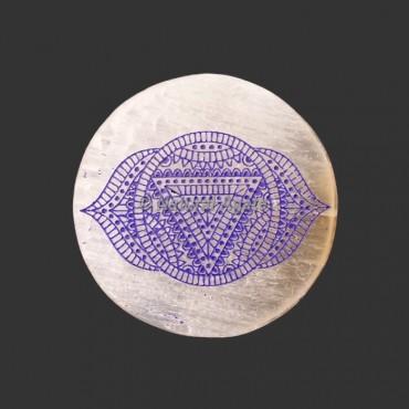Engraved Third Eye Chakra Symbol Selenite Plate / Coaster