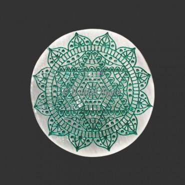 Engraved Heart Chakra Symbol Selenite Plate | Coaster