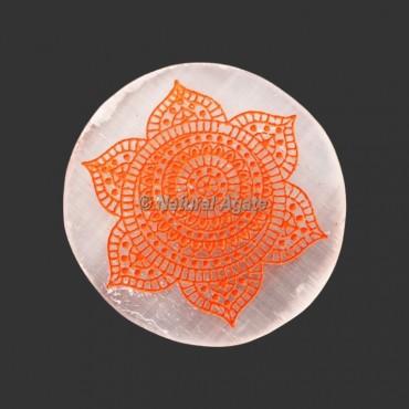 Engraved Sacral Chakra Symbol Selenite Plate / Coaster