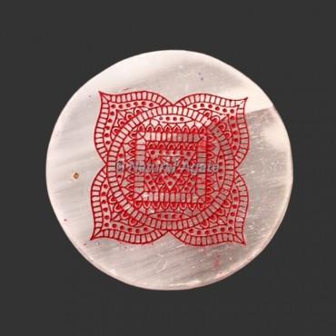 Engraved Root Chakra Symbol Selenite Plate | Coaster