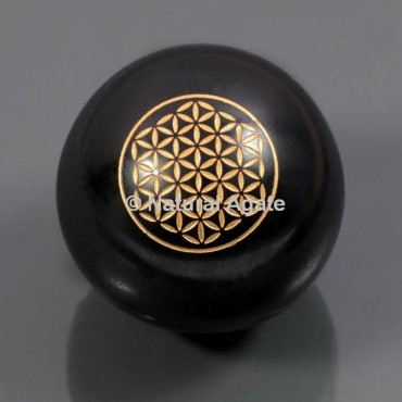 Black Agate With Flower Of Life Ball