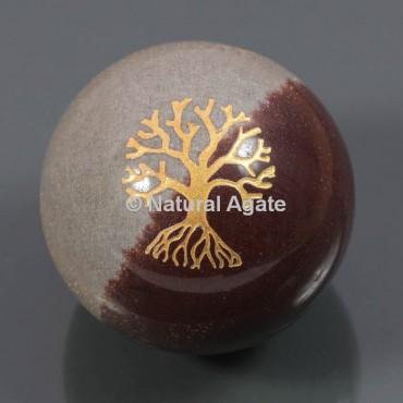 Narmada Stone With Tree Of Life Ball