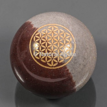 Narmada Stone With Flower Of Life Ball