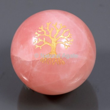 Rose Quartz With Tree Of Life Ball