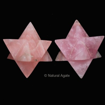 Rose Quartz Merkaba Star 40-50 MM