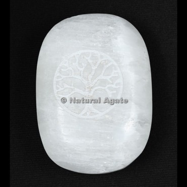 Tree Of Life Engraved Selenite Palm Stone