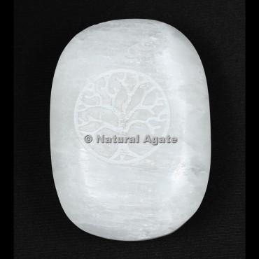 Tree Of Life Engraved Selenite Palm Stone