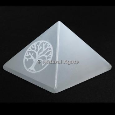 Tree Of Life Engraved Selenite Pyramid