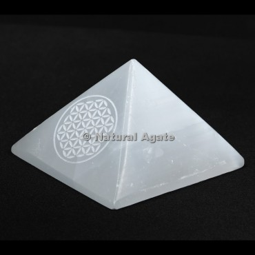 Flower Of Life Engraved Selenite Pyramid