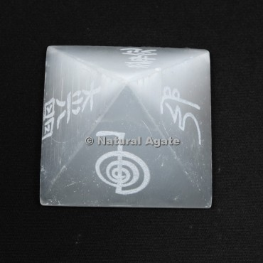 Reiki Symbols Engraved Selenite Pyramid