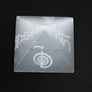 Reiki Symbols Engraved Selenite Pyramid