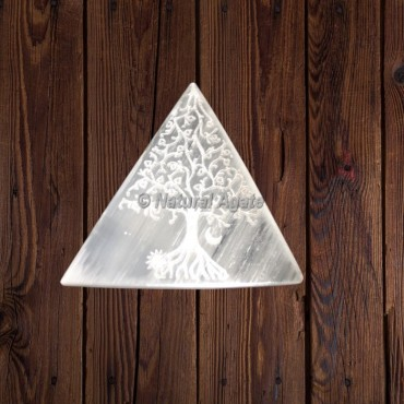 Selenite Triangle Engraved Tree Of Life