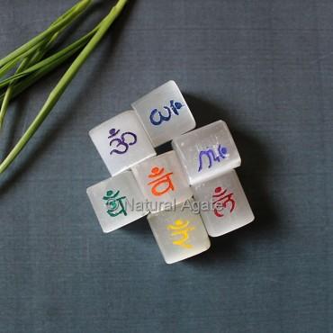 Sanskrit Letters Engraved Selenite Stones