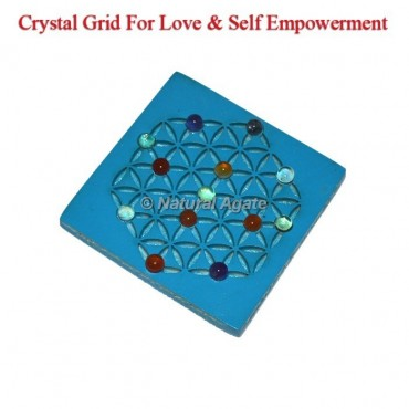 Turquoise With Healing Crystals Grid Love And Self Empowerment