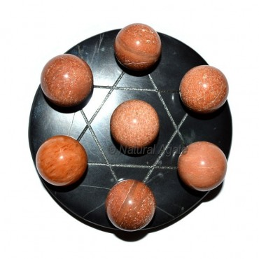 Engraved David Star with 7 Ball Peach Aventurine