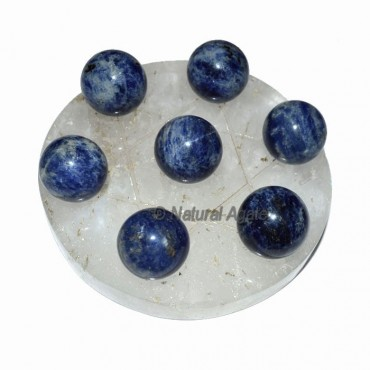 David Star 7 Ball Sodalite with Crystal Quartz Bas
