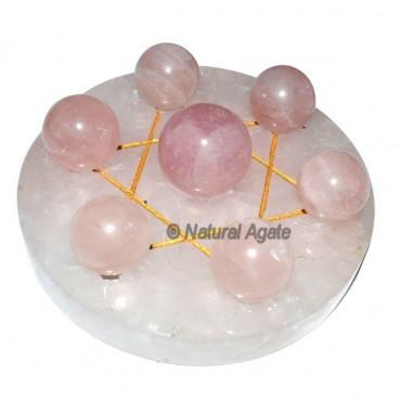David Star 7 ball of Rose Quartz with Rose Quartz
