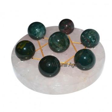 David Star 7 Ball Blood Stone with Rose Quartz Bas