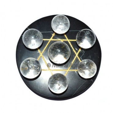 Crystal Quartz 7 Ball with Black David Star base