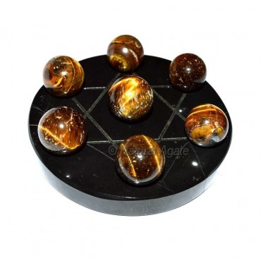 Tiger Eye 7 Ball with Black Agate Base