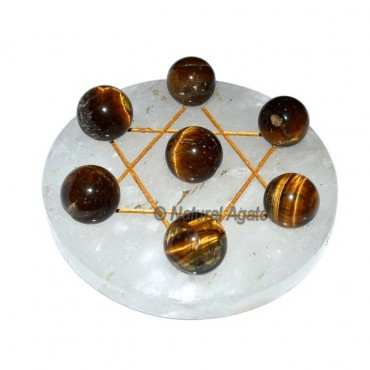 Engraved David Star 7 Ball of Tiger Eye