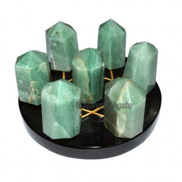 Green Aventurine 7 Point on Black Agate David Star
