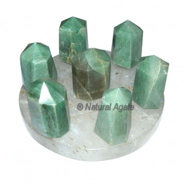 Natural Carved David Star with Green 7 Point