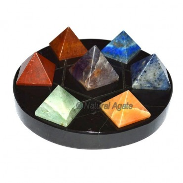 7 chakra Pyramids with Black Agate David Star base
