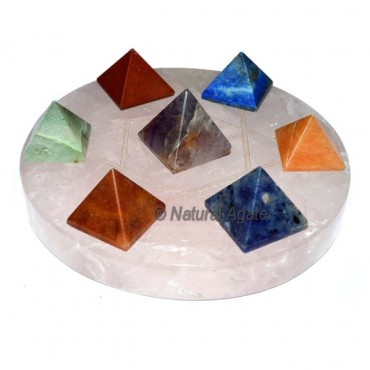 7 chakra pyramids with Rose Quartz David Star Base