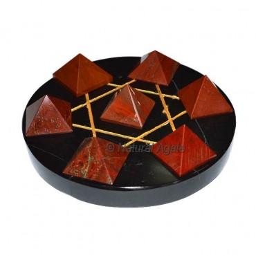 Red Jasper pyramids with Back agate gold david sta