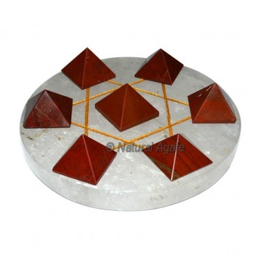 7 Red Jasper pyramids with Crystal Gold David Star