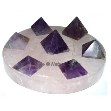 7 Amethyst Pyramids with Rose Quartz David Star Ba