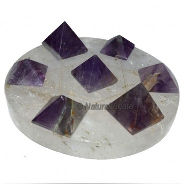 7 Amethyst Pyramids with Crystal Quartz David Star