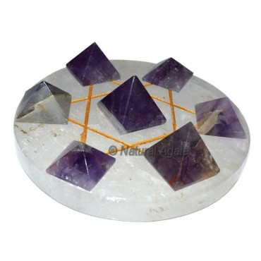 7 Amethyst Pyramids with Gold Crystal David Star B