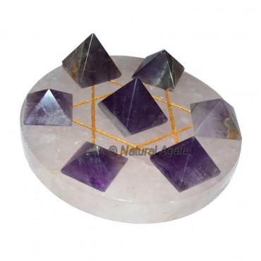 7 Amethyst Pyramids with Rose Quartz David Star ba