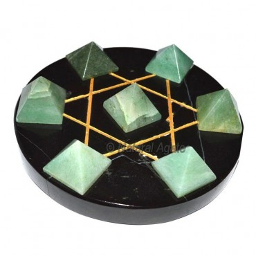 7 Green Aventurine Pyramids with Black Agate Base