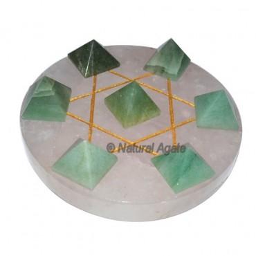 7 Green Aventurine Pyramids with Rose Quartz David