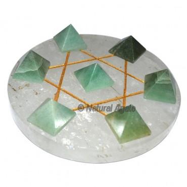 7 Green Aventurine Pyramids with Crystal David Sta