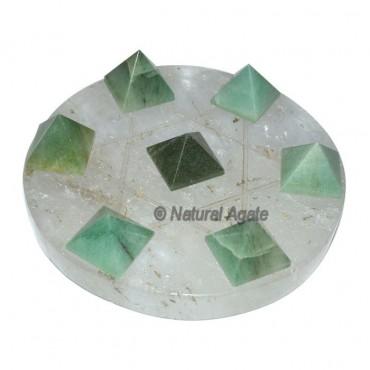 7 Green Aventurine Pyramids with Crystal Quartz Da