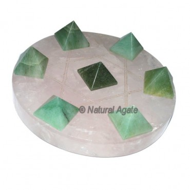 seven Green Aventurine Pyramidw with Rose Quartz B