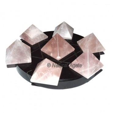 7 Rose Quartz Pyramids with Black Agate David Star