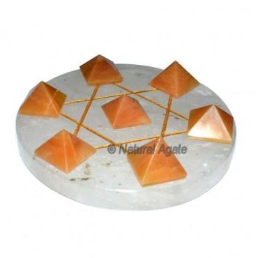 7 Golden Quartz Pyramids with Crystal Quartz David