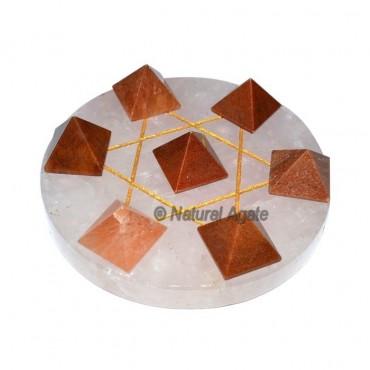 7 Peach Aventurine Pyramids with Rose Quartz Base