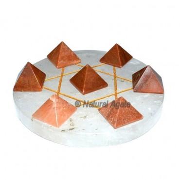 7 Peach Aventurine Pyramids with Crystal Quartz Da