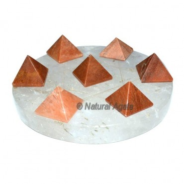 7 Peach Aventurine Pyramids with Crystal David Sta