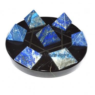 David Star 7 Lapis Pyramids with Black David Star