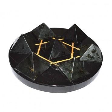 David Star 7 Black Tourmaline Pyramids with Gold D