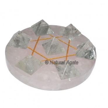 David Star 7 Crystal Pyramids with Rose David Base