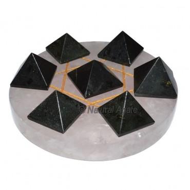 David Star 7 Black Tourmaline Pyramids with Rose Q